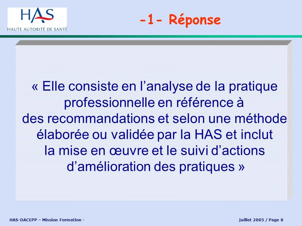HAS-DACEPP – Mission Formation - juillet 2005 / Page 8 « Elle consiste en lanalyse de la pratique professionnelle en référence à des recommandations e