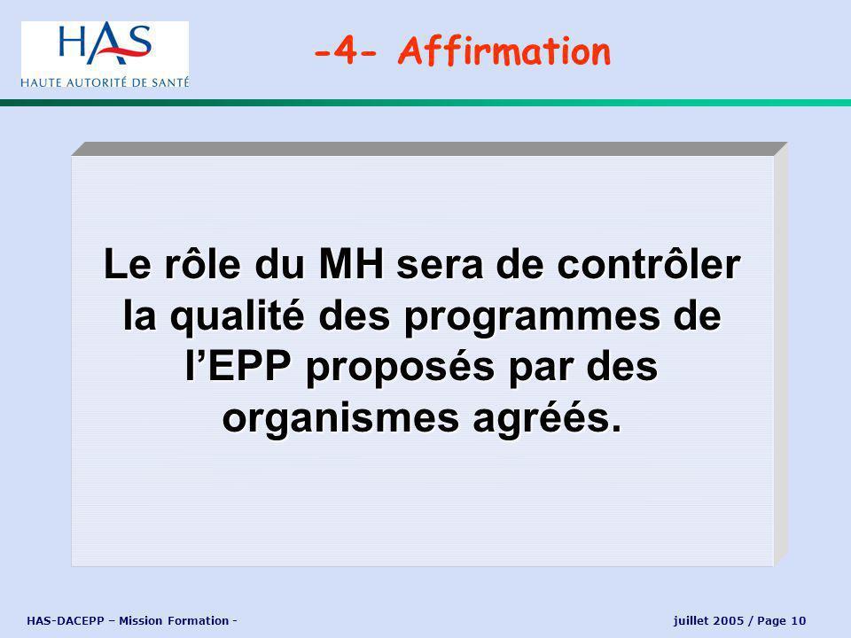 HAS-DACEPP – Mission Formation - juillet 2005 / Page 10 Le rôle du MH sera de contrôler la qualité des programmes de lEPP proposés par des organismes agréés.
