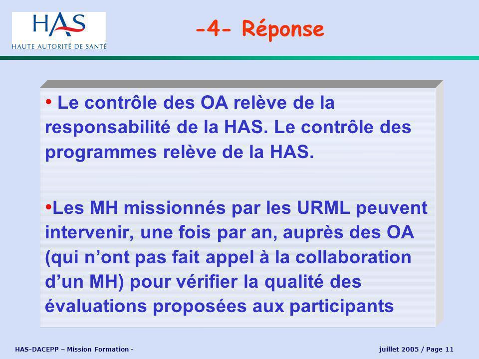 HAS-DACEPP – Mission Formation - juillet 2005 / Page 11 Le contrôle des OA relève de la responsabilité de la HAS.