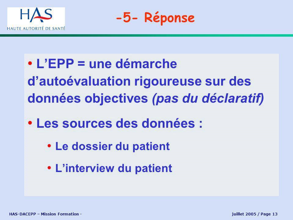 HAS-DACEPP – Mission Formation - juillet 2005 / Page 13 LEPP = une démarche dautoévaluation rigoureuse sur des données objectives (pas du déclaratif) Les sources des données : Le dossier du patient Linterview du patient -5- Réponse