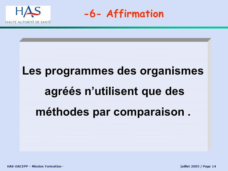 HAS-DACEPP – Mission Formation - juillet 2005 / Page 14 Les programmes des organismes agréés nutilisent que des agréés nutilisent que des méthodes par comparaison.