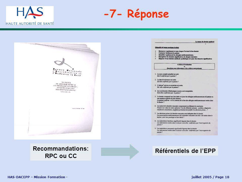 HAS-DACEPP – Mission Formation - juillet 2005 / Page 18 -7- Réponse Recommandations: RPC ou CC Référentiels de lEPP