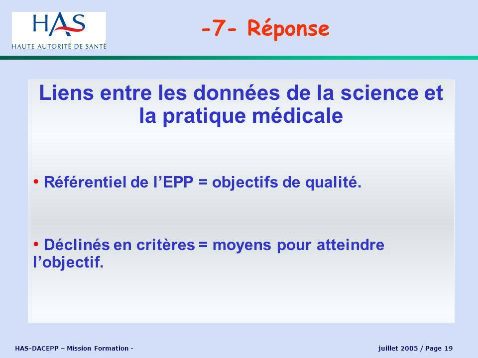 HAS-DACEPP – Mission Formation - juillet 2005 / Page 19 Liens entre les données de la science et la pratique médicale Référentiel de lEPP = objectifs de qualité.