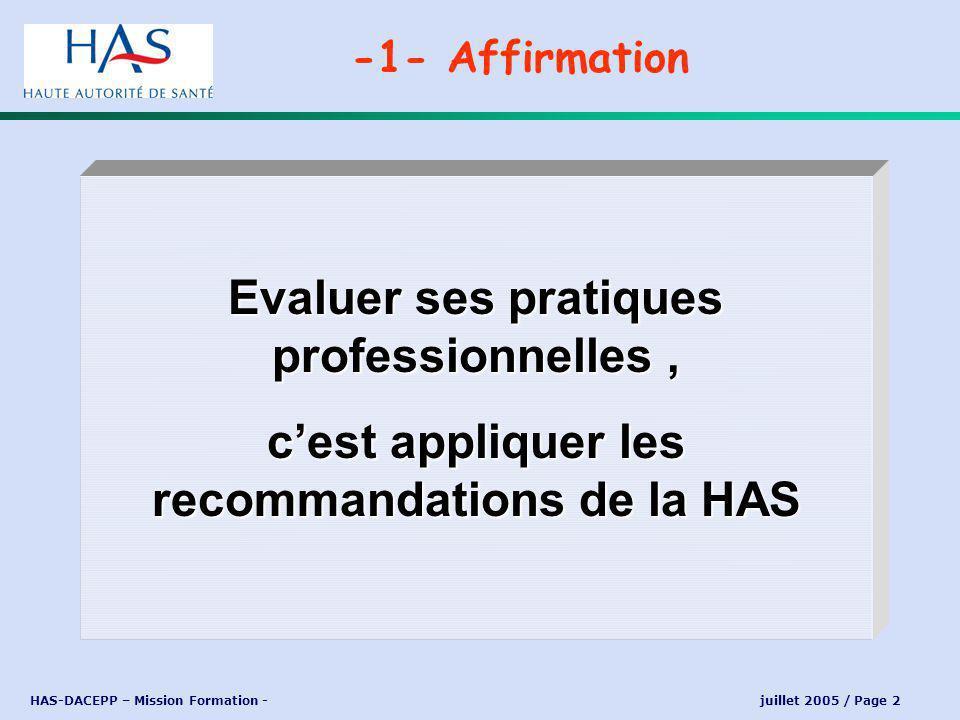HAS-DACEPP – Mission Formation - juillet 2005 / Page 3 « Elle consiste en lanalyse de la pratique professionnelle en référence à des recommandations et selon une méthode élaborée ou validée par la HAS et inclut la mise en œuvre et le suivi dactions damélioration des pratiques » -1- Réponse