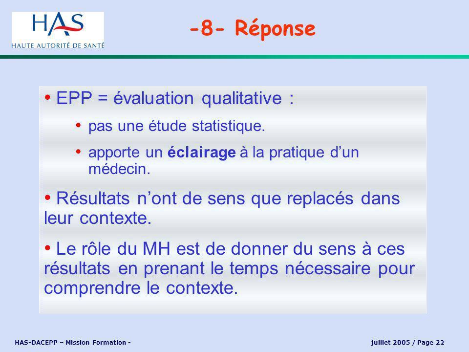HAS-DACEPP – Mission Formation - juillet 2005 / Page 22 EPP = évaluation qualitative : pas une étude statistique.