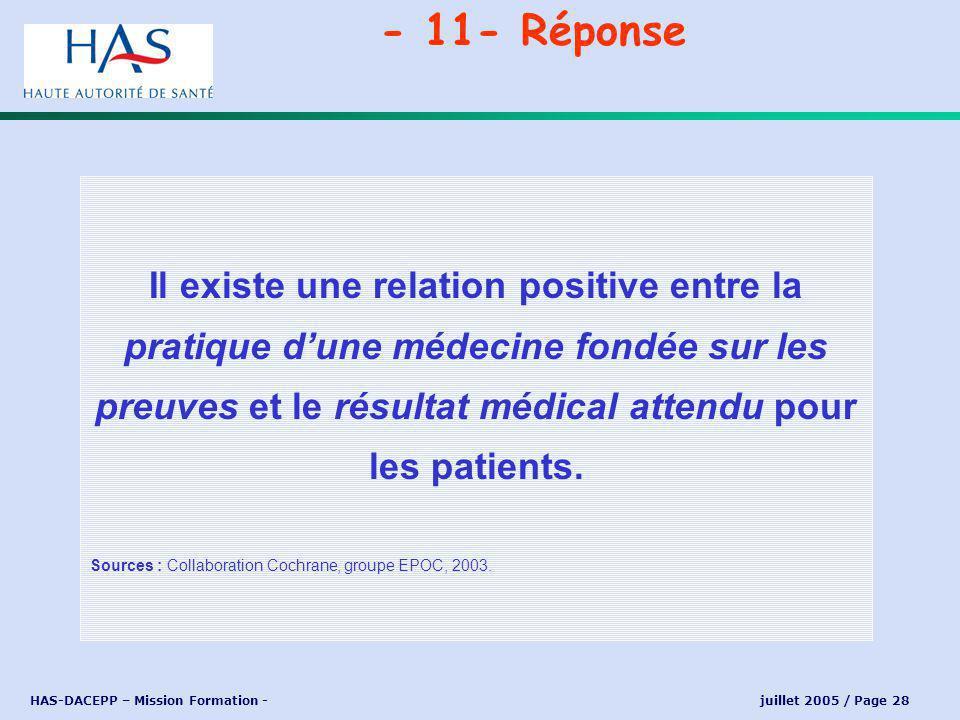 HAS-DACEPP – Mission Formation - juillet 2005 / Page 28 Il existe une relation positive entre la pratique dune médecine fondée sur les preuves et le résultat médical attendu pour les patients.