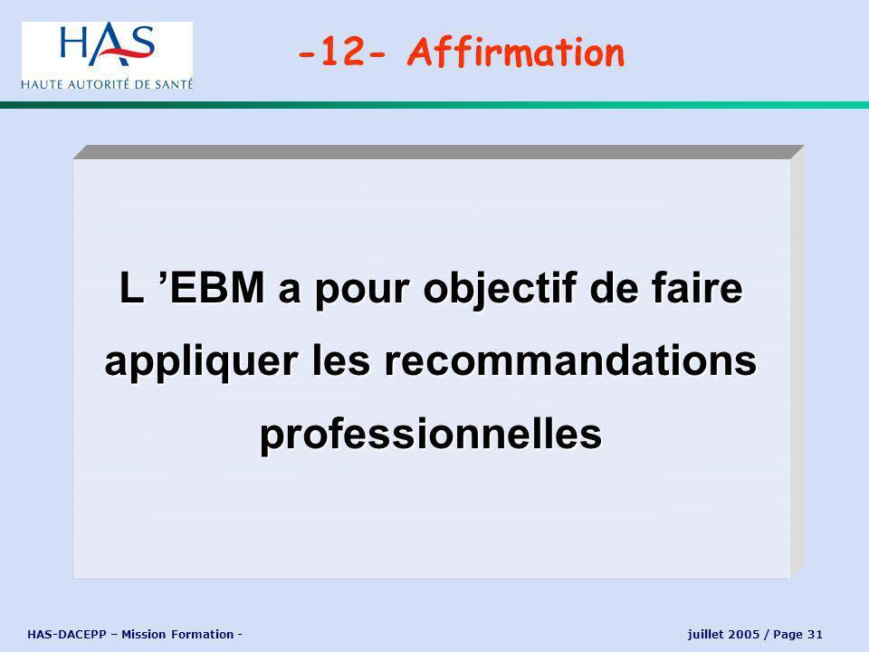 HAS-DACEPP – Mission Formation - juillet 2005 / Page 31 L EBM a pour objectif de faire appliquer les recommandations professionnelles -12- Affirmation