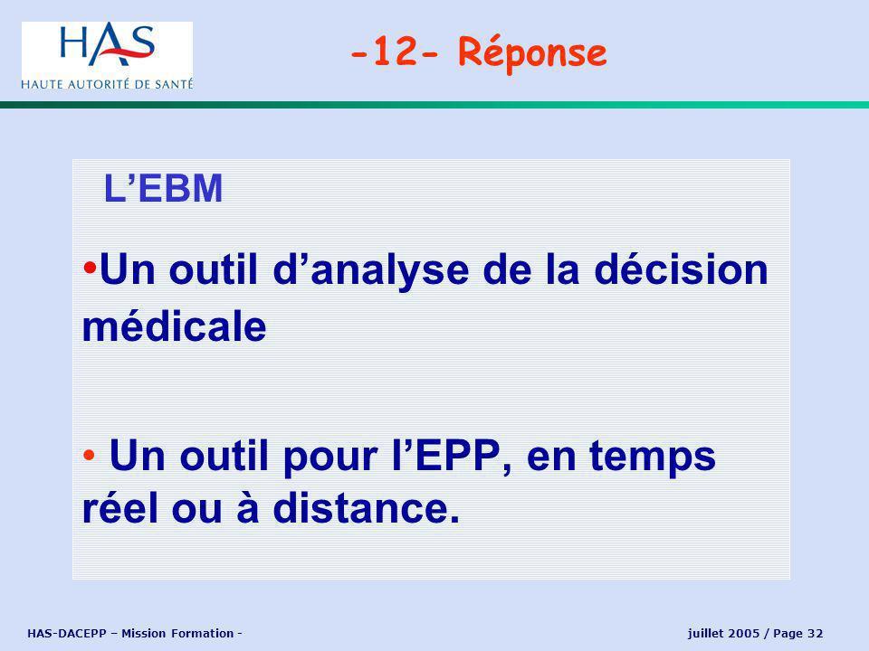 HAS-DACEPP – Mission Formation - juillet 2005 / Page 32 LEBM Un outil danalyse de la décision médicale Un outil pour lEPP, en temps réel ou à distance.