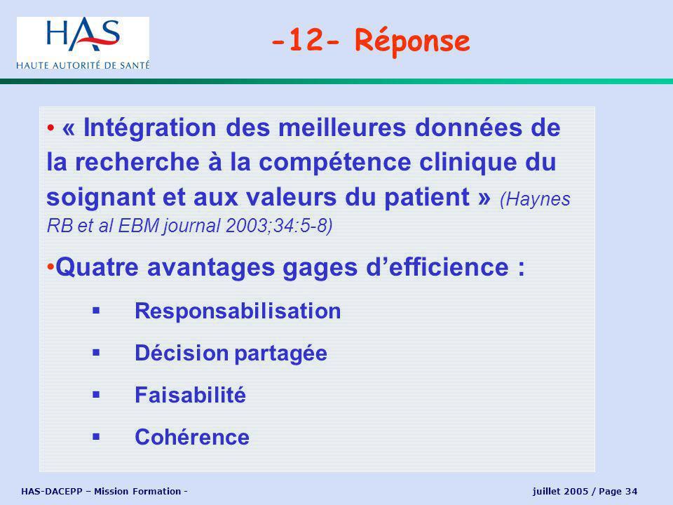 HAS-DACEPP – Mission Formation - juillet 2005 / Page 34 « Intégration des meilleures données de la recherche à la compétence clinique du soignant et aux valeurs du patient » (Haynes RB et al EBM journal 2003;34:5-8) Quatre avantages gages defficience : Responsabilisation Décision partagée Faisabilité Cohérence -12- Réponse
