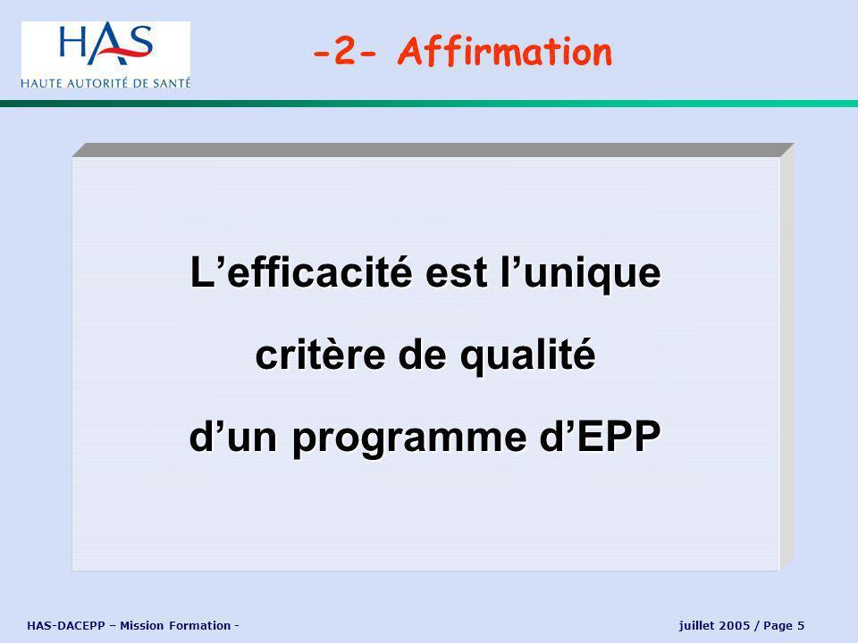 HAS-DACEPP – Mission Formation - juillet 2005 / Page 5 Lefficacité est lunique critère de qualité dun programme dEPP -2- Affirmation