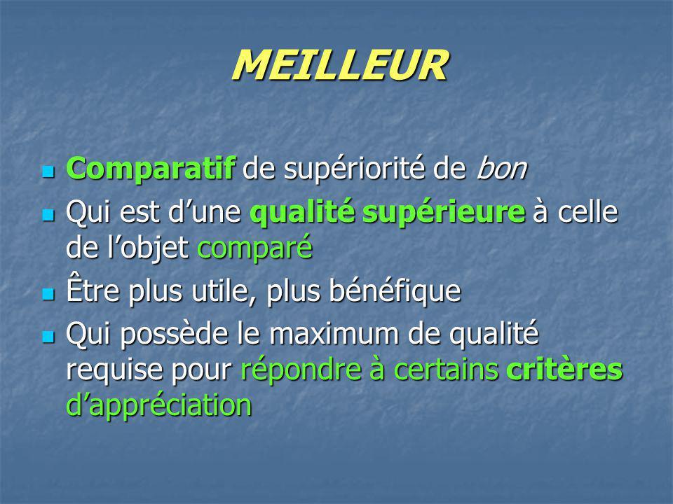 MEILLEUR Comparatif de supériorité de bon Comparatif de supériorité de bon Qui est dune qualité supérieure à celle de lobjet comparé Qui est dune qual