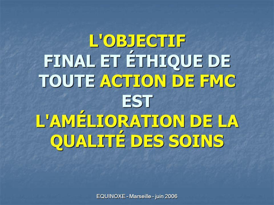 EQUINOXE - Marseille - juin 2006 L'OBJECTIF FINAL ET ÉTHIQUE DE TOUTE ACTION DE FMC EST L'AMÉLIORATION DE LA QUALITÉ DES SOINS