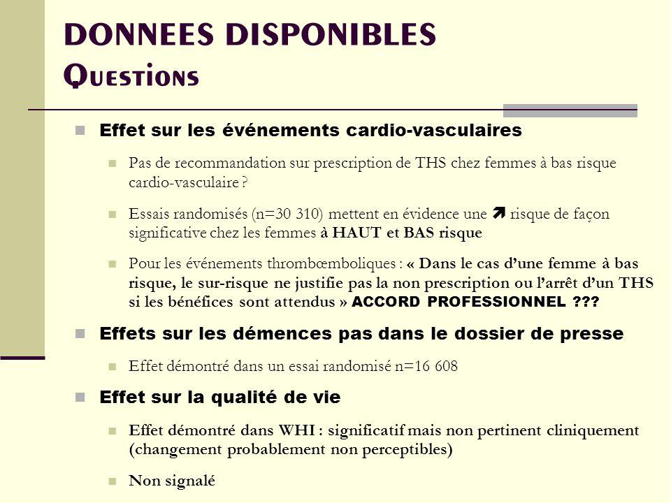 DONNEES DISPONIBLES Questions Effet sur les événements cardio-vasculaires Pas de recommandation sur prescription de THS chez femmes à bas risque cardio-vasculaire .