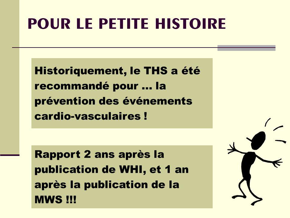 POUR LE PETITE HISTOIRE Historiquement, le THS a été recommandé pour...