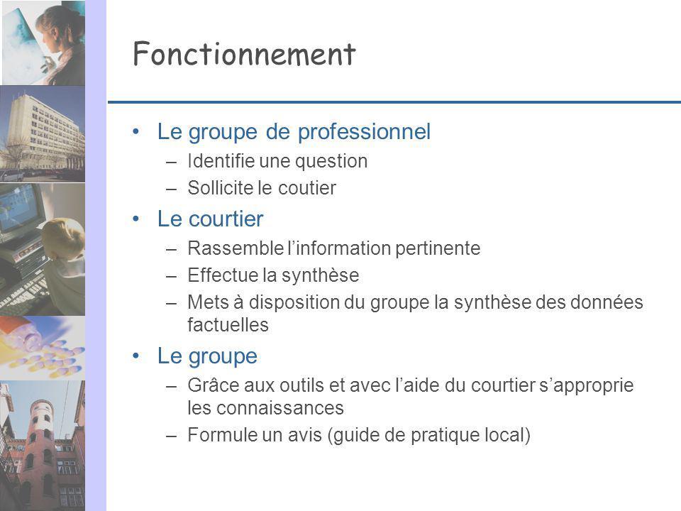 Fonctionnement Le groupe de professionnel –Identifie une question –Sollicite le coutier Le courtier –Rassemble linformation pertinente –Effectue la sy