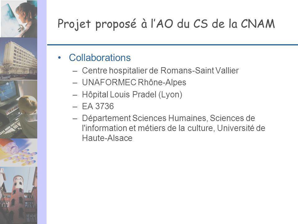 Projet proposé à lAO du CS de la CNAM Collaborations –Centre hospitalier de Romans-Saint Vallier –UNAFORMEC Rhône-Alpes –Hôpital Louis Pradel (Lyon) –