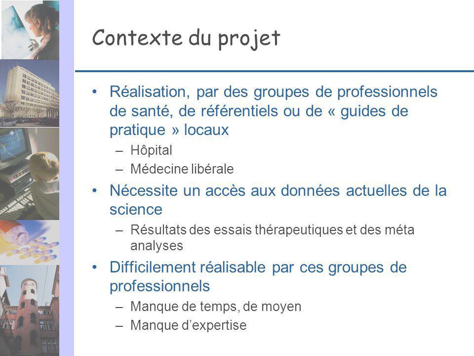 Contexte du projet Réalisation, par des groupes de professionnels de santé, de référentiels ou de « guides de pratique » locaux –Hôpital –Médecine lib