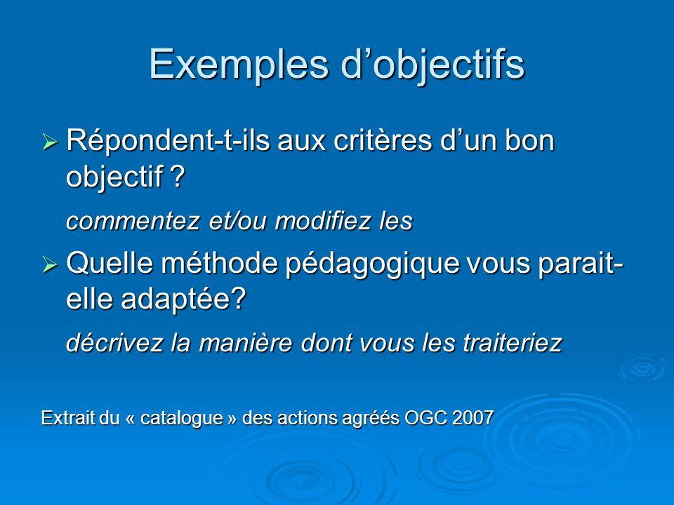 Exemples dobjectifs Répondent-t-ils aux critères dun bon objectif .