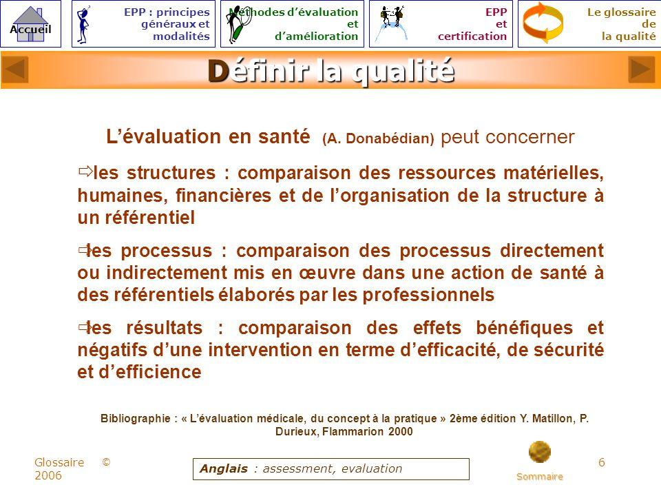6 © Accueil Le glossaire de la qualité EPP : principes généraux et modalités Méthodes dévaluation et damélioration EPP et certification Glossaire 2006 Définir la qualité Lévaluation en santé (A.