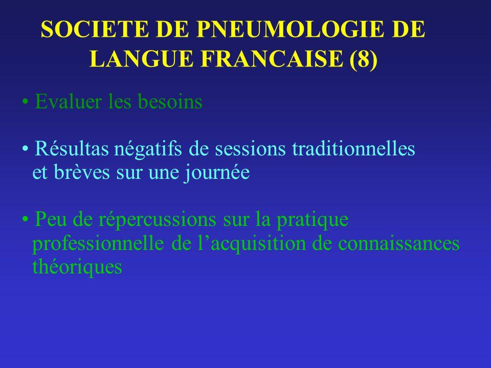 SOCIETE DE PNEUMOLOGIE DE LANGUE FRANCAISE (8) Evaluer les besoins Résultas négatifs de sessions traditionnelles et brèves sur une journée Peu de répe