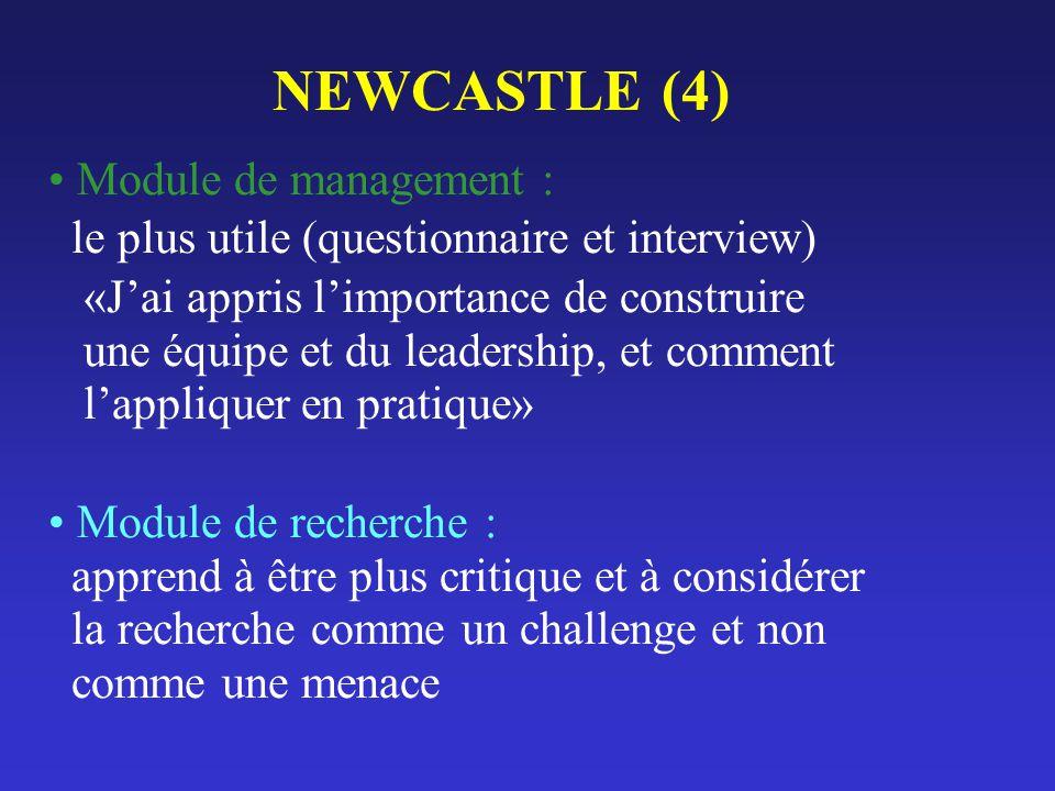 NEWCASTLE (4) Module de management : le plus utile (questionnaire et interview) «Jai appris limportance de construire une équipe et du leadership, et