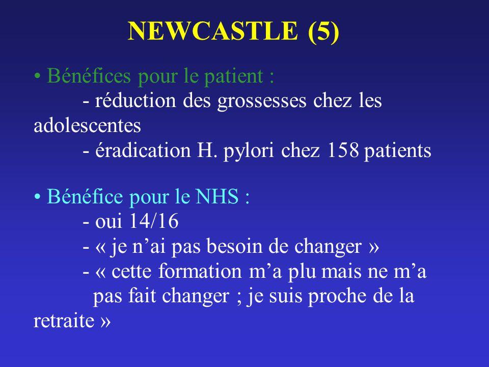 NEWCASTLE (5) Bénéfices pour le patient : - réduction des grossesses chez les adolescentes - éradication H. pylori chez 158 patients Bénéfice pour le