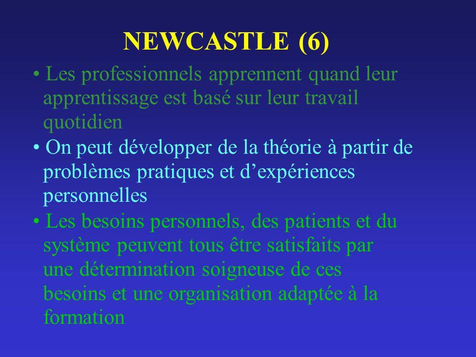 NEWCASTLE (6) Les professionnels apprennent quand leur apprentissage est basé sur leur travail quotidien On peut développer de la théorie à partir de