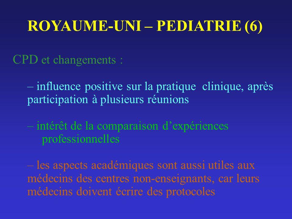 ROYAUME-UNI – PEDIATRIE (6) CPD et changements : – influence positive sur la pratique clinique, après participation à plusieurs réunions – intérêt de