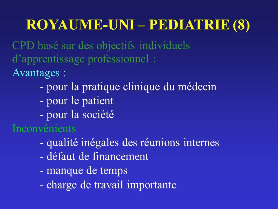 ROYAUME-UNI – PEDIATRIE (8) CPD basé sur des objectifs individuels dapprentissage professionnel : Avantages : - pour la pratique clinique du médecin -