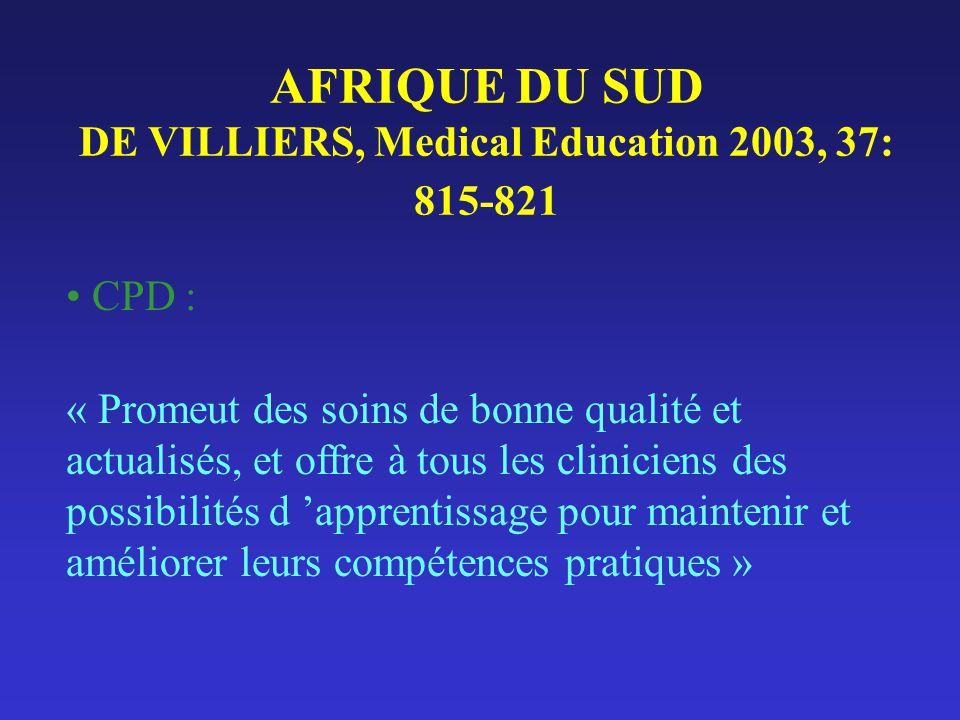 AFRIQUE DU SUD DE VILLIERS, Medical Education 2003, 37: 815-821 CPD : « Promeut des soins de bonne qualité et actualisés, et offre à tous les clinicie