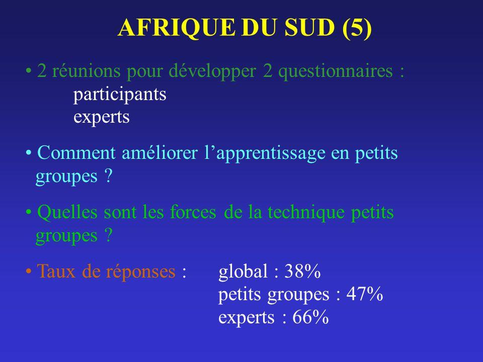 AFRIQUE DU SUD (5) 2 réunions pour développer 2 questionnaires : participants experts Comment améliorer lapprentissage en petits groupes ? Quelles son