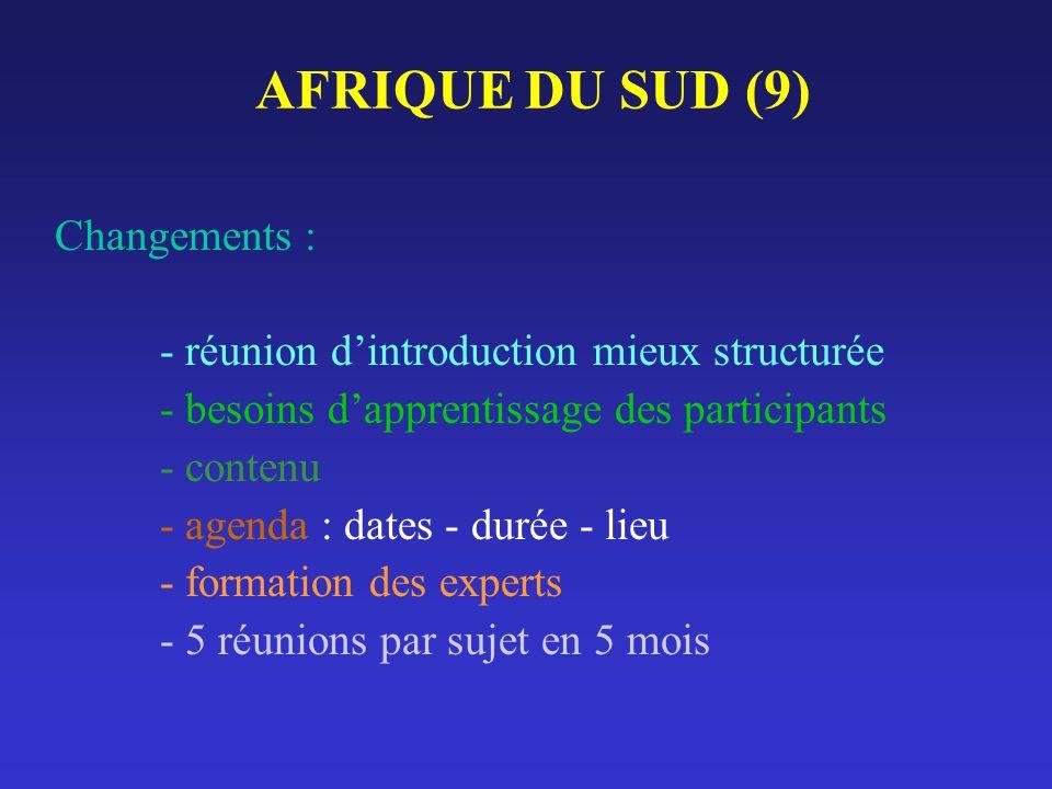 AFRIQUE DU SUD (9) Changements : - réunion dintroduction mieux structurée - besoins dapprentissage des participants - contenu - agenda : dates - durée