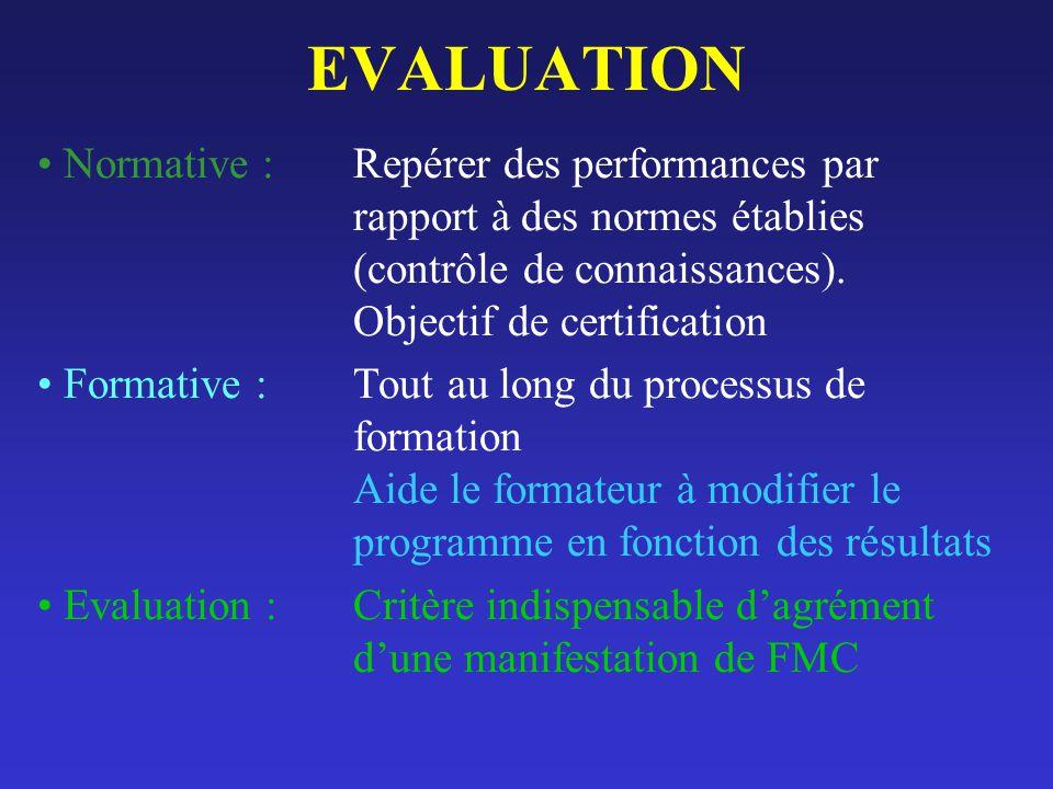 EVALUATION Normative : Repérer des performances par rapport à des normes établies (contrôle de connaissances). Objectif de certification Formative : T