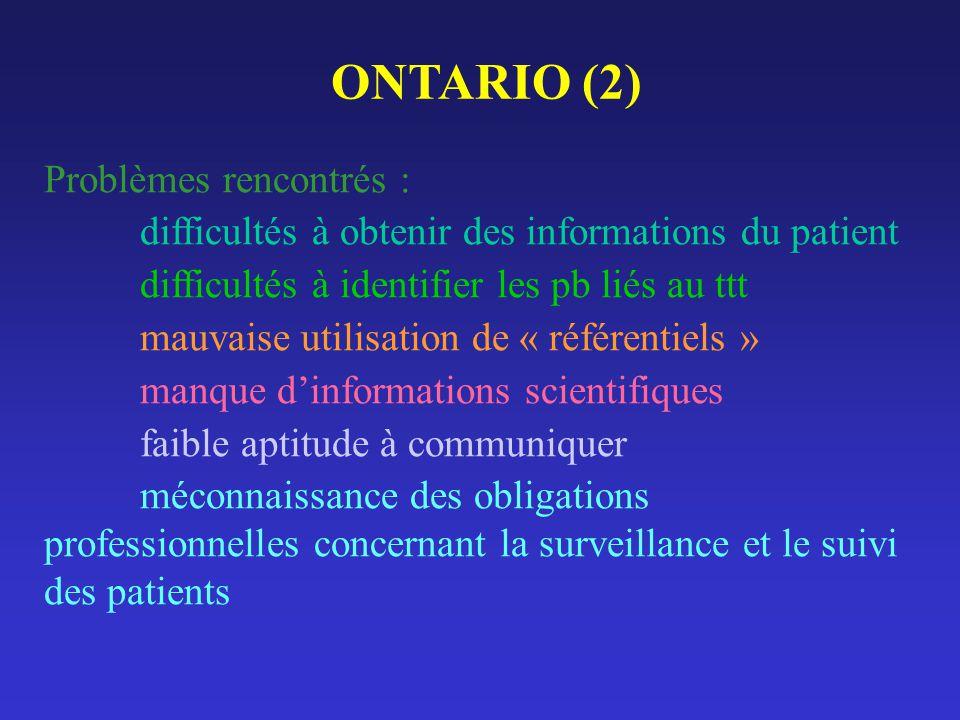 ONTARIO (2) Problèmes rencontrés : difficultés à obtenir des informations du patient difficultés à identifier les pb liés au ttt mauvaise utilisation