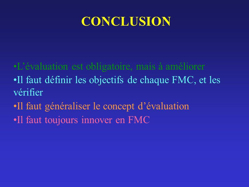 CONCLUSION Lévaluation est obligatoire, mais à améliorer Il faut définir les objectifs de chaque FMC, et les vérifier Il faut généraliser le concept d