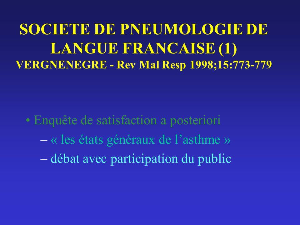 SOCIETE DE PNEUMOLOGIE DE LANGUE FRANCAISE (1) VERGNENEGRE - Rev Mal Resp 1998;15:773-779 Enquête de satisfaction a posteriori – « les états généraux