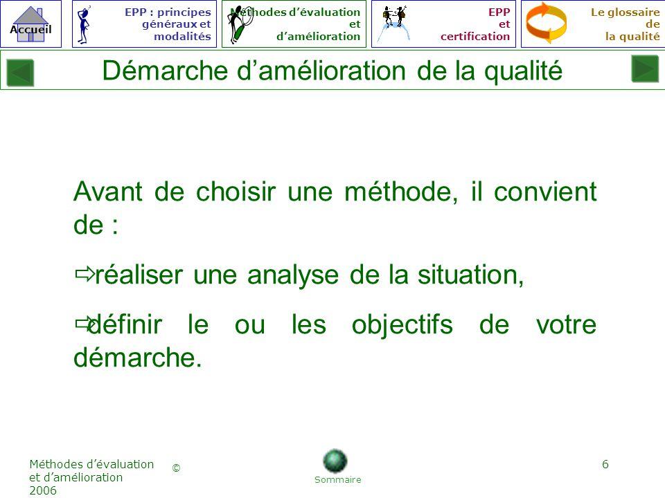 7 © Accueil Le glossaire de la qualité EPP : principes généraux et modalités Méthodes dévaluation et damélioration EPP et certification Méthodes dévaluation et damélioration 2006 Quelles sont les exigences des patients .