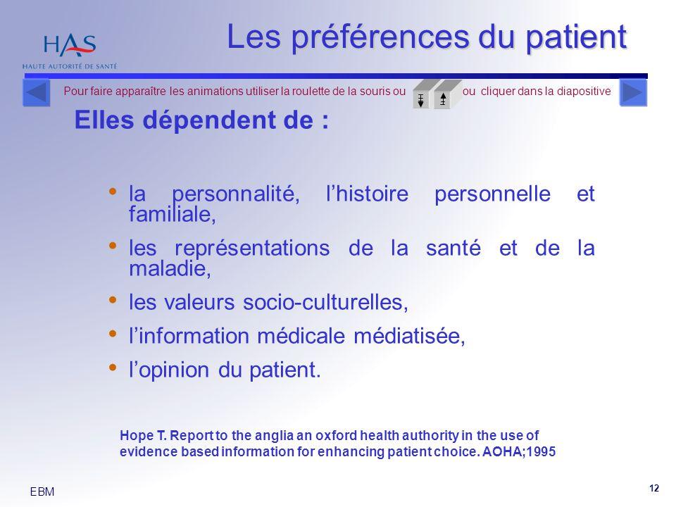 EBM 12 Elles dépendent de : la personnalité, lhistoire personnelle et familiale, les représentations de la santé et de la maladie, les valeurs socio-culturelles, linformation médicale médiatisée, lopinion du patient.