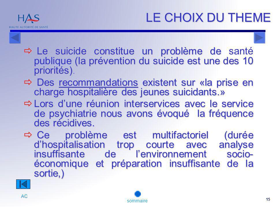 15 LE CHOIX DU THEME Le suicide constitue un problème de (la prévention du suicide est une des 10 priorités).