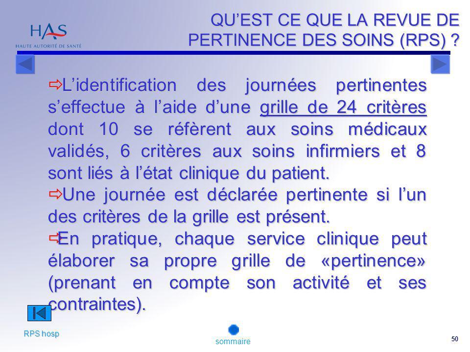 50 QUEST CE QUE LA REVUE DE PERTINENCE DES SOINS (RPS) .