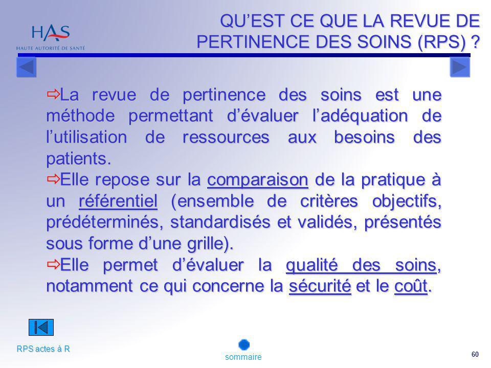 60 QUEST CE QUE LA REVUE DE PERTINENCE DES SOINS (RPS) .