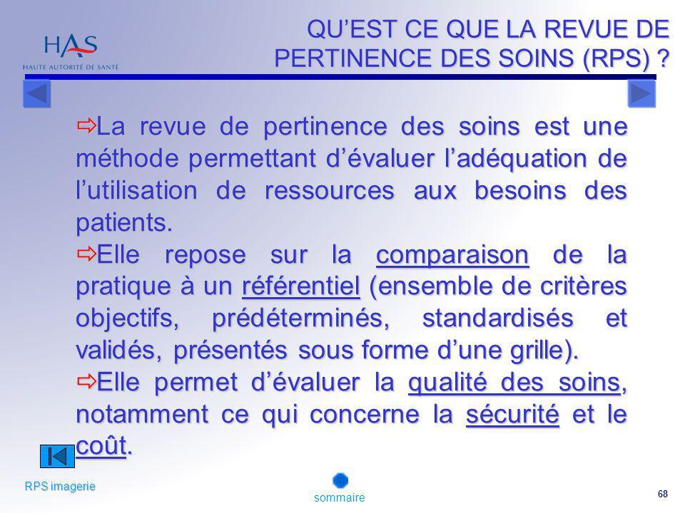 68 QUEST CE QUE LA REVUE DE PERTINENCE DES SOINS (RPS) .