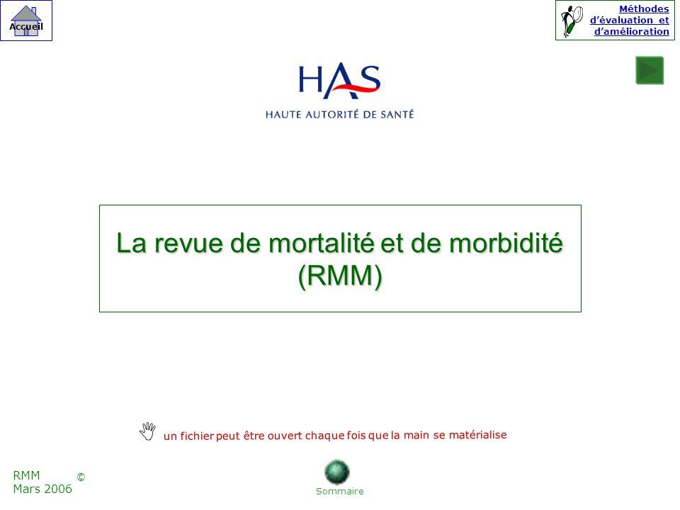 La revue de mortalité et de morbidité (RMM) Sommaire RMM Mars 2006 © Accueil un fichier peut être ouvert chaque fois que la main se matérialise Méthodes dévaluation et damélioration