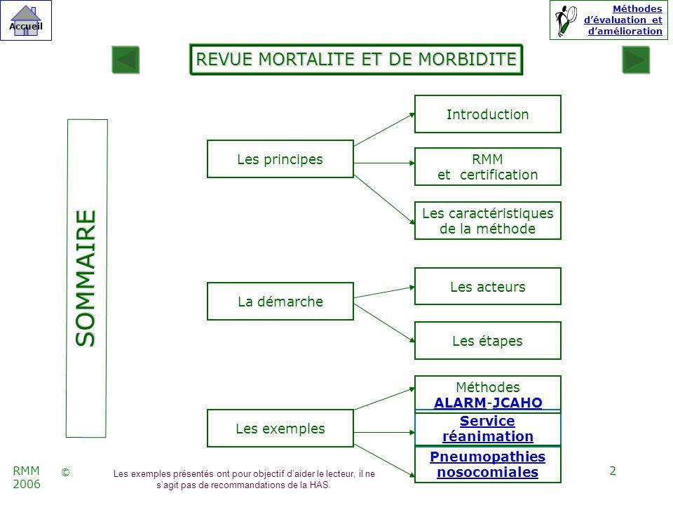 23 © Accueil Méthodes dévaluation et damélioration RMM 2006 La revue de la littérature permet didentifier des méthodes danalyse systémique dévènements indésirables dans le secteur de la santé.