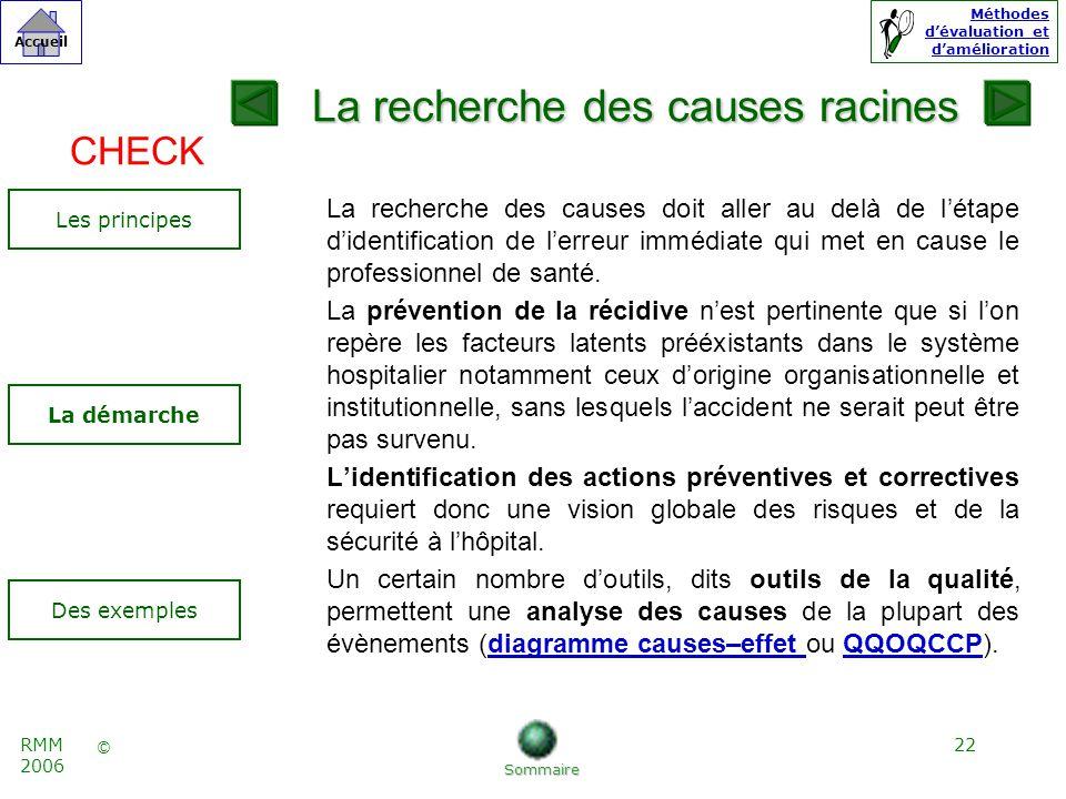 22 © Accueil Méthodes dévaluation et damélioration RMM 2006 La recherche des causes doit aller au delà de létape didentification de lerreur immédiate qui met en cause le professionnel de santé.