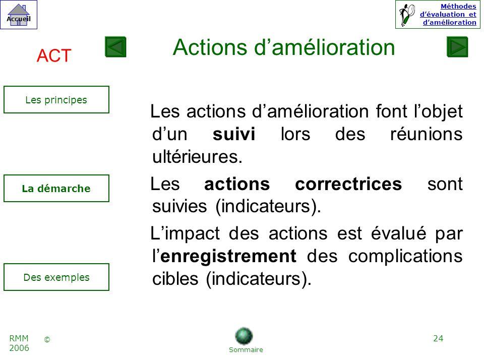 24 © Accueil Méthodes dévaluation et damélioration RMM 2006 Les actions damélioration font lobjet dun suivi lors des réunions ultérieures.