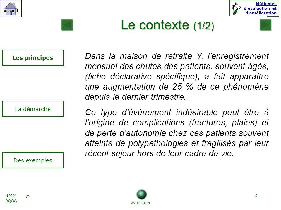 4 © Accueil Méthodes dévaluation et damélioration RMM 2006 Des exemples Les principes La démarche Le contexte (2/2) Un groupe de travail est constitué afin de : 1.