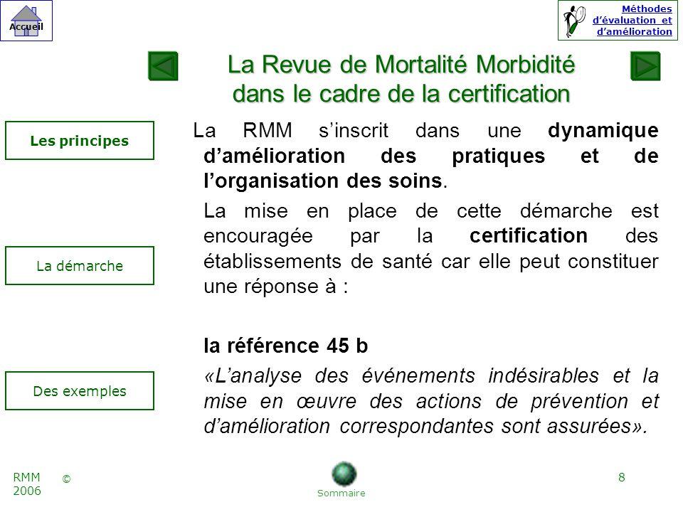 8 © Accueil Méthodes dévaluation et damélioration RMM 2006 La RMM sinscrit dans une dynamique damélioration des pratiques et de lorganisation des soins.