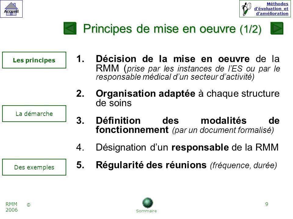 10 © Accueil Méthodes dévaluation et damélioration RMM 2006 6.