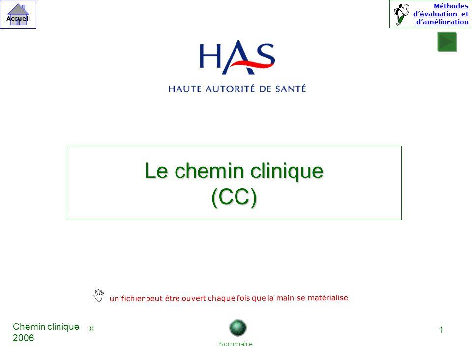 © Accueil Méthodes dévaluation et damélioration Chemin clinique 2006 1 Le chemin clinique (CC) Sommaire un fichier peut être ouvert chaque fois que la main se matérialise